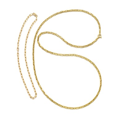 View 1. Thumbnail of Lot 1195. Two gold chains.