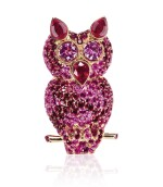 Ruby and pink sapphire pendant/brooch combination, 'The pink owl', Michele della Valle