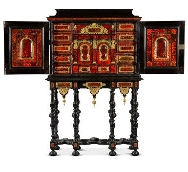 View 2. Thumbnail of Lot 41. A Flemish Baroque gilt-metal mounted ebony, rosewood, tortoiseshell, ivory, inlaid and carved cabinet-on-stand, probably Antwerp, late 17th century.