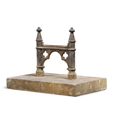 View 2. Thumbnail of Lot 88.   A REGENCY CAST-IRON BOOT-SCRAPER, FIRST QUARTER 19TH CENTURY, OF GOTHIC ARCHITECTURAL-FORM AND SET INTO A CUT-LIMESTONE BLOCK .