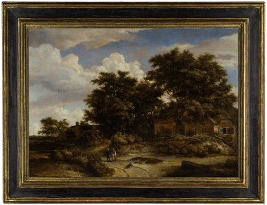View 2. Thumbnail of Lot 23. A wooded landscape with figures conversing on a path, a cottage beneath oak trees beyond |《林木風景,路上寒暄的行人與橡樹下的小屋》.