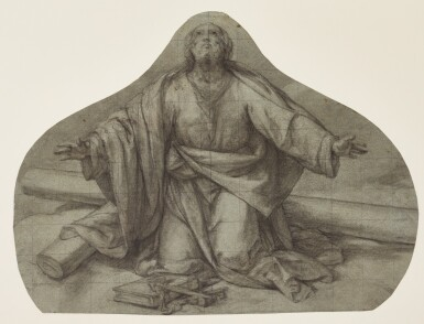 BOLOGNESE SCHOOL, CIRCA 1600 | Study for St. Peter kneeling, his arms outstretched