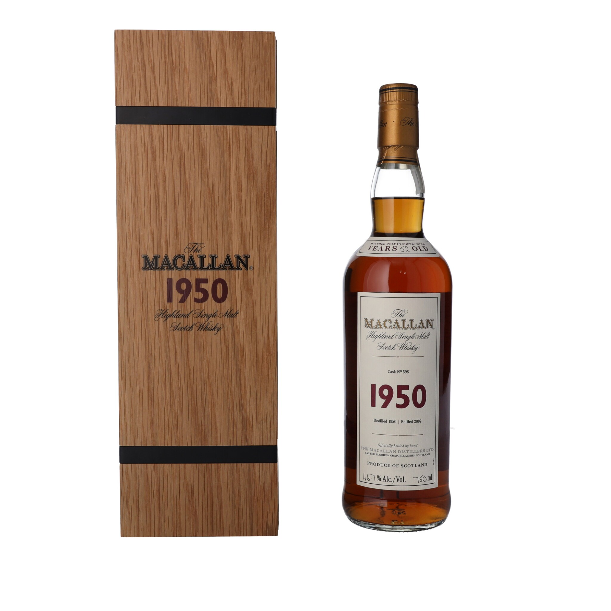View full screen - View 1 of Lot 5. The Macallan Fine & Rare 52 Year Old 46.7 abv 1950 (1 BT75).
