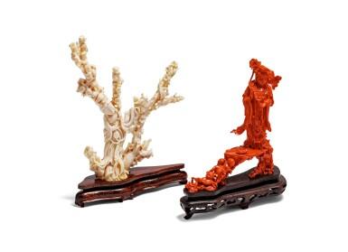 View 1. Thumbnail of Lot 219. Deux groupes en corail sculpté Début du XXE siècle | 二十世紀初 紅珊瑚雕持蓮觀音立像及白珊瑚雕仕女立像 | Two carved coral figural groups, early 20th century.