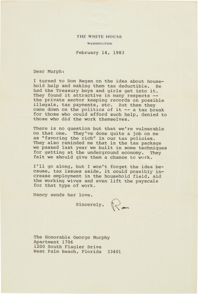 View 3. Thumbnail of Lot 99. Ronald Reagan | Series of 37 letters to Senator George Murphy, and related material, 1968-90.