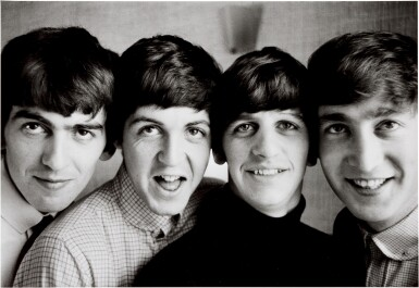 View 1. Thumbnail of Lot 16. NORMAN PARKINSON | The Beatles, Russell Square, 1963, silver print, signed, titled, dated, numbered 8/21.