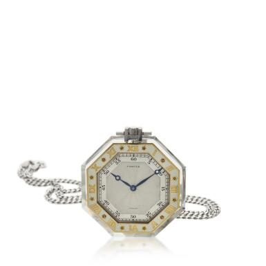 View 1. Thumbnail of Lot 396. A rock crystal, platinum, yellow gold and enamel open faced watch, Circa 1925 .
