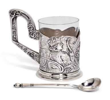 View 1. Thumbnail of Lot 236. A silver tea glass holder and a spoon, 4th Artel, Moscow, and Grachev Brothers, St Petersburg, 1908-1917.