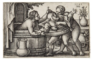 View 2. Thumbnail of Lot 40. Saint Sebald; Buffoon and two Women and a Fool; and Female Genius (B. 65, 214, 258; Holl. 69, 214, 269).