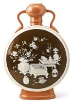 A MINTONS SALMON- AND CHOCOLATE-GROUND PÂTE-SUR-PÂTE MOON FLASK 1873