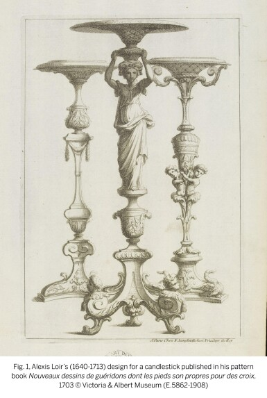 View 3. Thumbnail of Lot 30. A pair of George II carved giltwood torchères, second quarter 18th century, after a design by Alexis Loir.