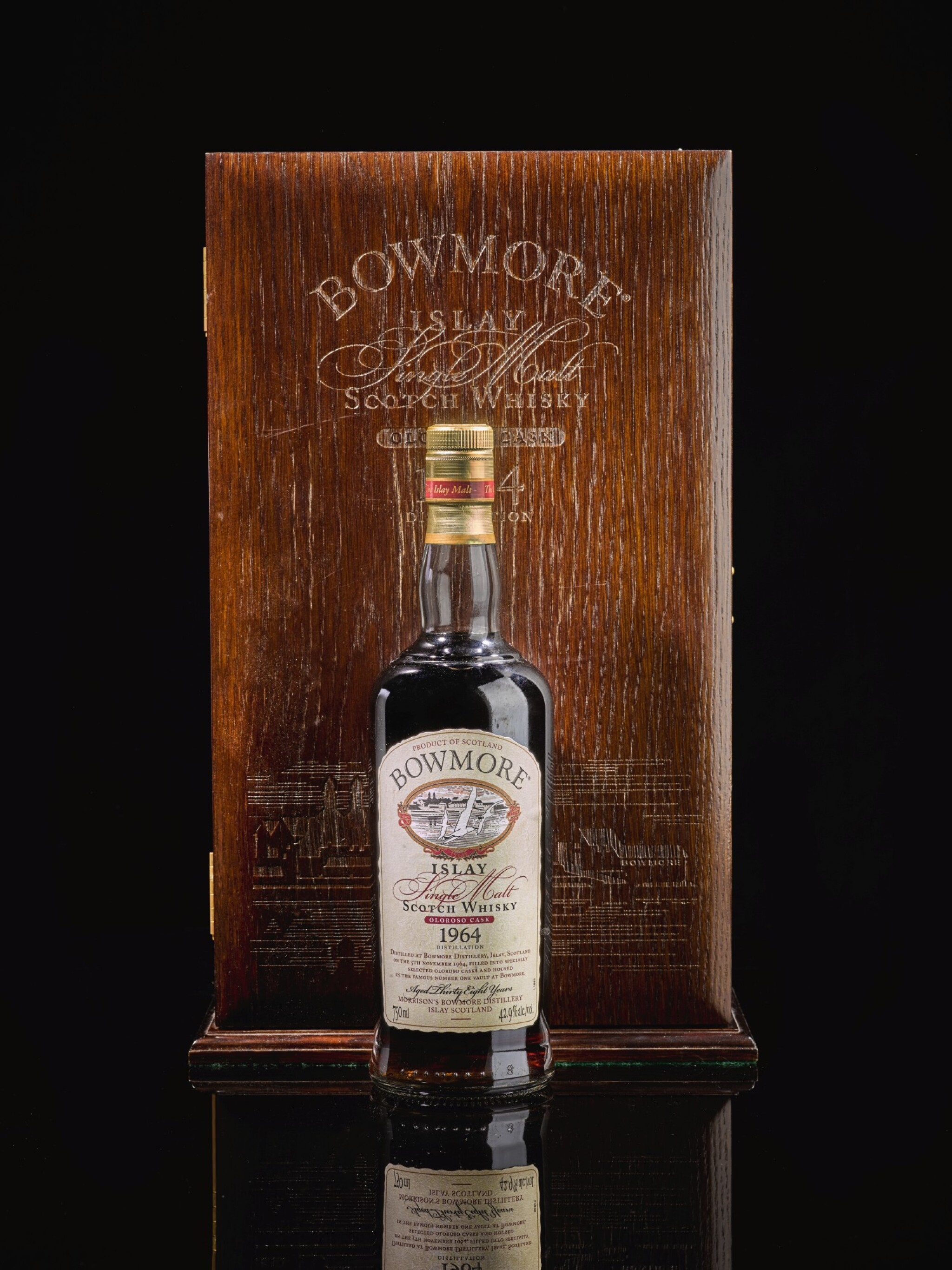 View full screen - View 1 of Lot 315. BOWMORE 38 YEAR OLD OLOROSO CASK 42.9 ABV 1964   .