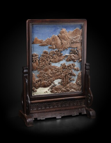 View 1. Thumbnail of Lot 225. A rare imperial bamboo-inlaid and zitan-framed 'landscape' screen Qing dynasty, Qianlong period   清乾隆 紫檀嵌竹山水圖、百壽紋雙面插屏.