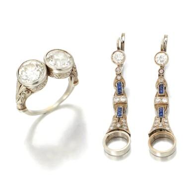 View 1. Thumbnail of Lot 32. PAIR OF DIAMOND EARRINGS AND RING   (PAIO DI ORECCHINI E ANELLO IN DIAMANTI).
