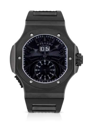 BULGARI | ENDURER CHRONOSPRINT ALL BLACKS, REF BRE 56 SB CHS/AB BLACK DLC-COATED STAINLESS STEEL CHRONOGRAPH WRISTWATCH WITH DATE CIRCA 2012