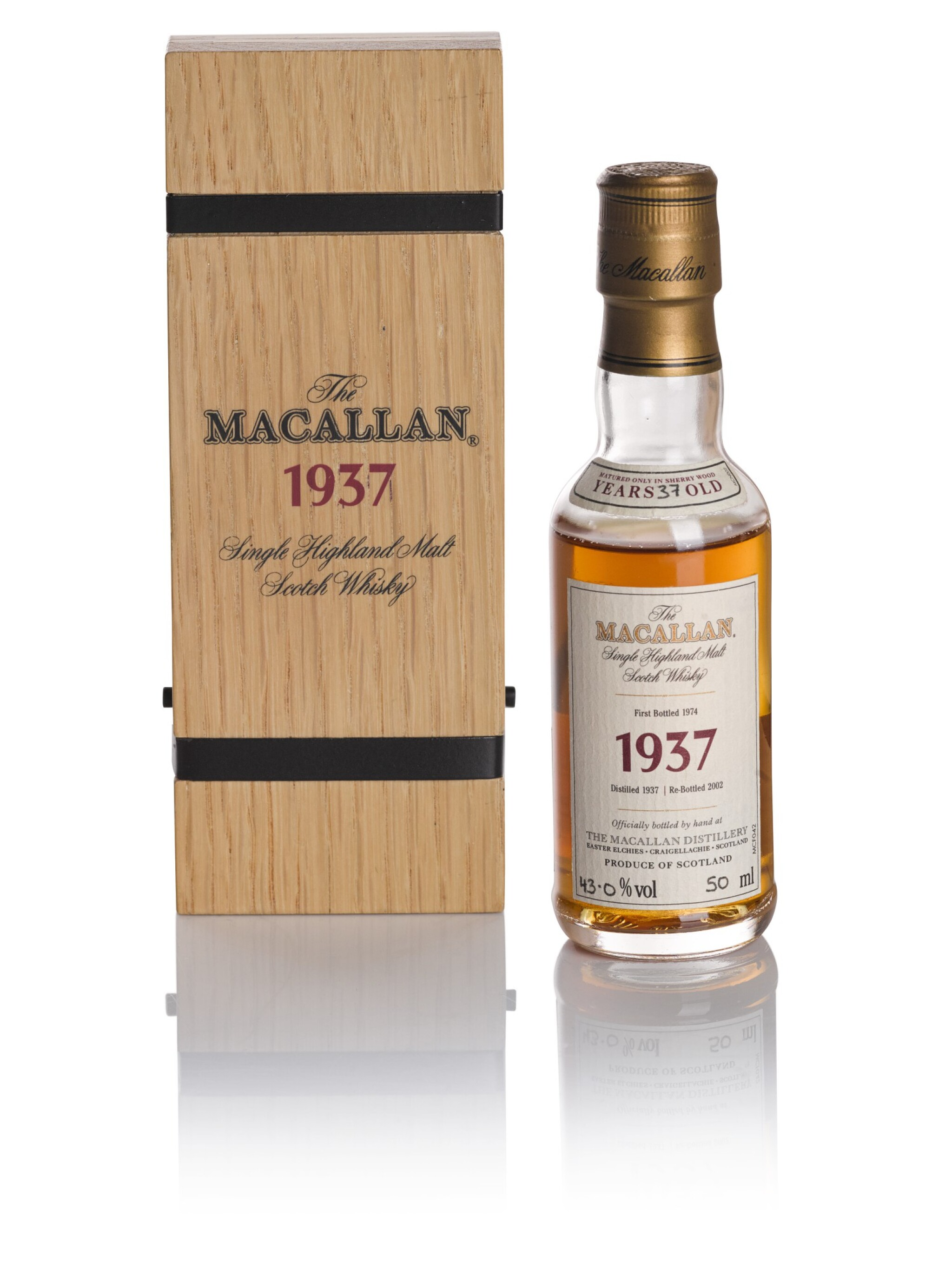 View full screen - View 1 of Lot 159. THE MACALLAN FINE & RARE 37 YEAR OLD 43.0 ABV 1937 .