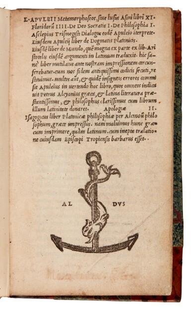 View 1. Thumbnail of Lot 47. Apuleius, Metamorphoseos, Venice, Aldus, 1521, later half calf.