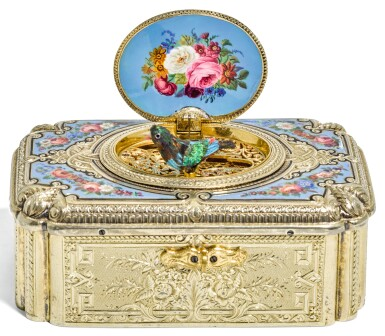 View 1. Thumbnail of Lot 67. A SILVER-GILT AND ENAMEL SINGING BIRD BOX, CHARLES BRUGUIER, GENEVA, MID 19TH CENTURY.