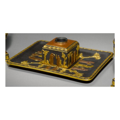 A WEDGWOOD BLACK BASALT GILDED AND BRONZED INKSTAND LATE 19TH CENTURY