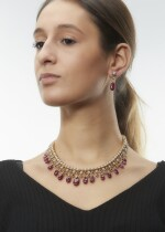 RUBY AND DIAMOND DEMI-PARURE