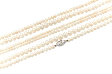 View 2. Thumbnail of Lot 30. COLLECTION OF NATURAL AND CULTURED PEARL NECKLACES   (COLLEZIONE DI COLLANE IN PERLE NATURALI E COLTIVATE).