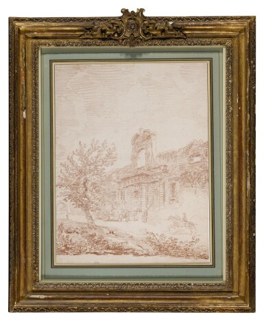 View 2. Thumbnail of Lot 4. HUBERT ROBERT   VIGNOLA'S GATE TO THE FARNESE GARDENS, ROME, WITH A COACH AND HORSES.