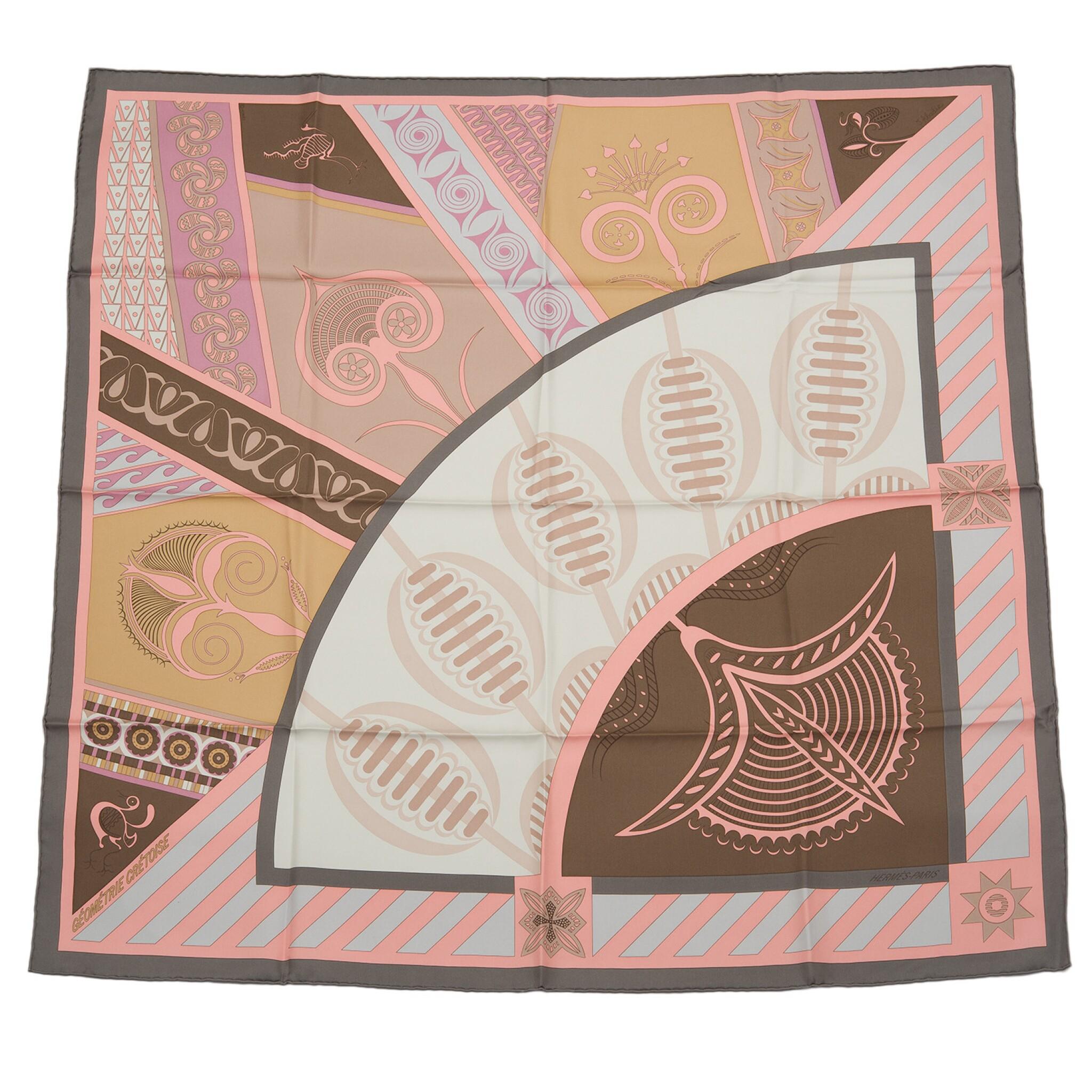 "View full screen - View 1 of Lot 116. Hermès ""Geometrie Cretoise"" Silk Twill Scarf 90cm."