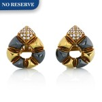 BULGARI | PAIR OF GOLD, HEMATITE AND DIAMOND EARCLIPS