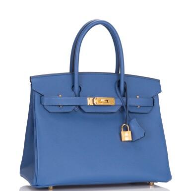 View 2. Thumbnail of Lot 9. Hermès Bleu Brighton Birkin 30cm of Epsom Leather with Gold Hardware.