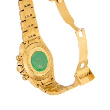 View 3. Thumbnail of Lot 2150. Rolex | Cosmograph Daytona, Reference 116528, A yellow gold chronograph wristwatch with bracelet, Circa 2000 | 勞力士 | Cosmograph Daytona 型號116528  黃金計時鏈帶腕錶,約2000年製.