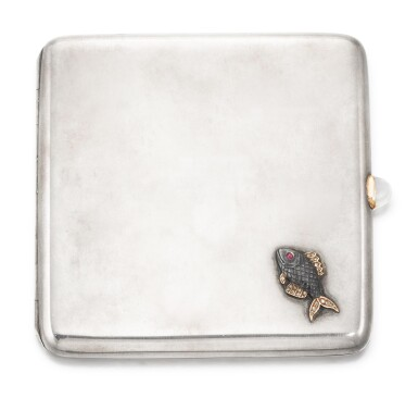 View 1. Thumbnail of Lot 64. A Fabergé jewelled silver cigarette case, workmaster Michael Perchin, St Petersburg, circa 1890.
