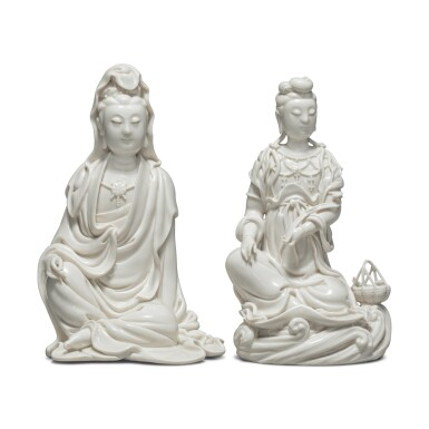 View 1. Thumbnail of Lot 39. Two 'Dehua' figures of seated Guanyin, 20th century.
