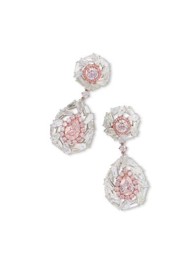 View 3. Thumbnail of Lot 1709. Pair of Coloured Diamond and Diamond Pendent Earrings   彩色鑽石 配 鑽石 耳墜一對.