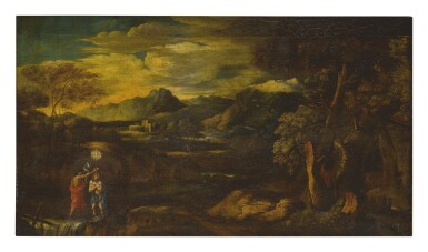FOLLOWER OF SALVATOR ROSA   AN ARCADIAN LANDSCAPE WITH THE BAPTISM OF CHRIST
