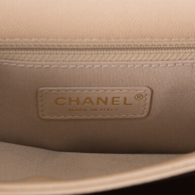 View 8. Thumbnail of Lot 97. CHANEL    BEIGE FLAP BAG OF QUILTED CAVIAR AND SUEDE WITH MATTE GOLD TONE HARDWARE.