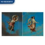 Pair of allegorical female figures