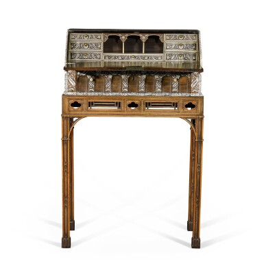 View 3. Thumbnail of Lot 246. An Anglo-Indian rosewood and ivory inlaid table bureau on a mahogany and fruitwood stand by Thomas Chippendale, the bureau, Vizagapatam, circa 1740-50, the stand, London, 1767.