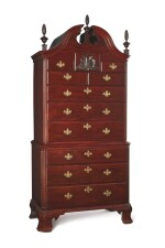 VERY FINE AND RARE CHIPPENDALE CARVED AND FIGURED MAHOGANY BONNET-TOP CHEST-ON-CHEST, ATTRIBUTED TO GEORGE CLAYPOOLE, JR. (D. 1793), PHILADELPHIA, PENNSYLVANIA, CIRCA 1750