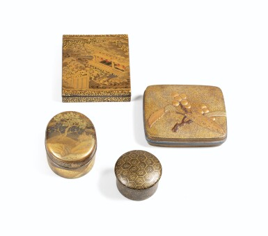 View 5. Thumbnail of Lot 74. A rare nashiji gold and silver inlaid suzuribak, Japan, Edo period.