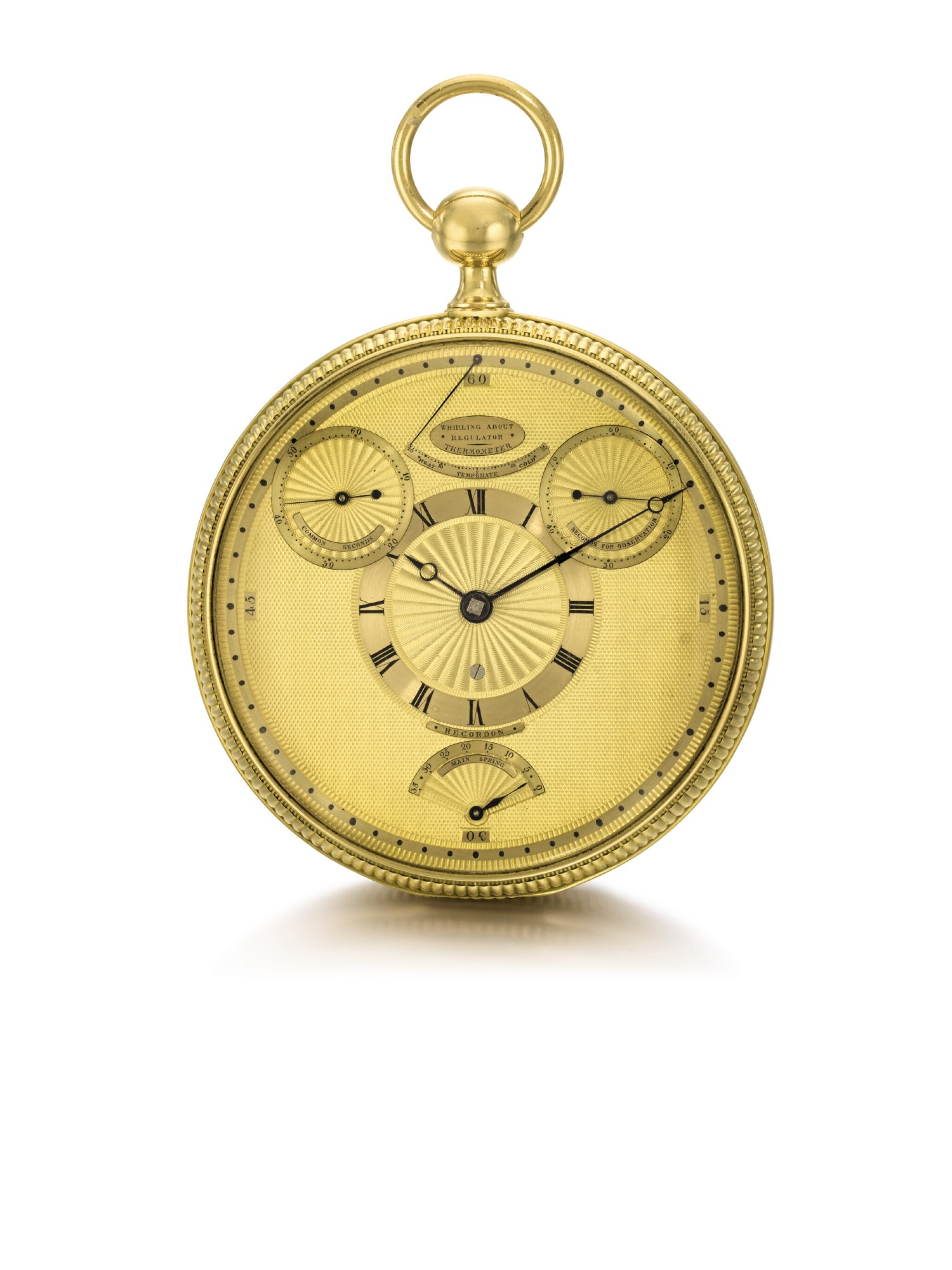 View full screen - View 1 of Lot 28. BREGUET | RETAILED BY RECORDON, LONDON: A HIGHLY IMPORTANT GOLD FOUR MINUTE TOURBILLON WATCH OF ROYAL PROVENANCE WITH ROBIN ESCAPEMENT, THERMOMETER AND STOP SLIDE FOR TIMING THE SECONDS  1808, NO. 1297.