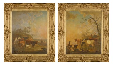 View 2. Thumbnail of Lot 161. JEAN BAPTISTE DE ROY | A PAIR OF PASTORAL LANDSCAPES WITH SHEPHERDS AND CATTLE WATERING.
