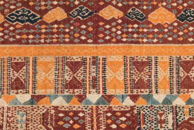 "View 3. Thumbnail of Lot 5. Tissu cérémoniel ""à jonques"" palepai, Lampung, Sumatra, Indonésie, circa.1900 | Ceremonial hanging ""ship cloth"" palepai, Lampung, Sumatra, Indonesia, ca. 1900."