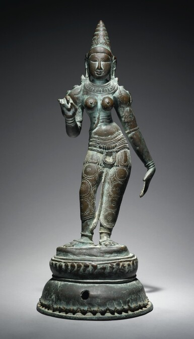 View 2. Thumbnail of Lot 354. A COPPER ALLOY FIGURE OF UMA,  SOUTH INDIA, CHOLA PERIOD, 11TH CENTURY.