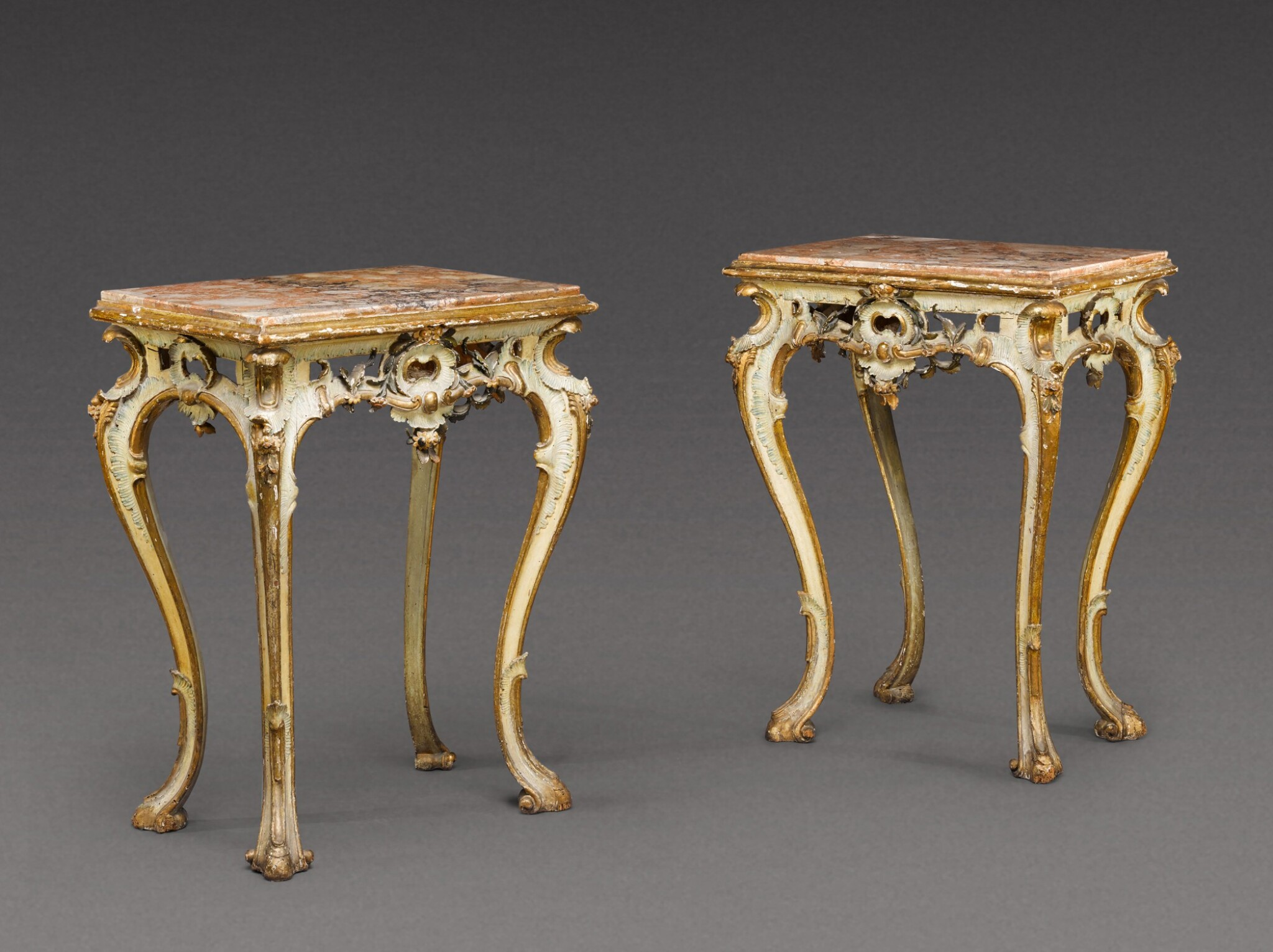 View 1 of Lot 180. A pair of South Italian carved parcel-gilt and painted console tables, Neapolitan, circa 1760.