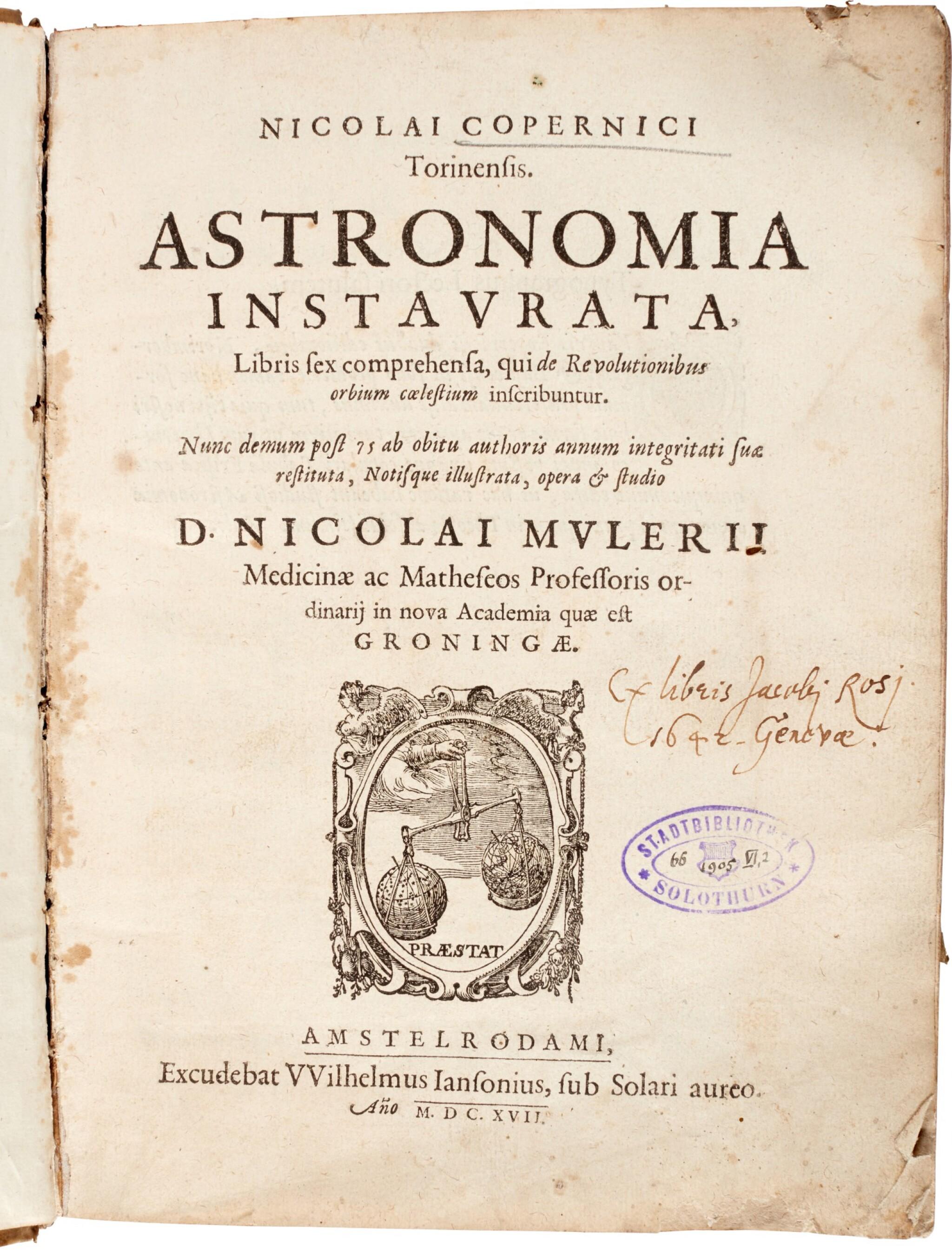 View full screen - View 1 of Lot 12. Copernicus | Astronomia instaurata libri sex, Amsterdam, 1617, contemporary vellum.