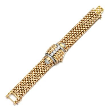View 3. Thumbnail of Lot 73. Eska   Diamond watch/bracelet, 1950s.