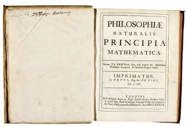 View 2. Thumbnail of Lot 74. Newton, Philosophiae naturalis principia mathematica, London, 1687, contemporary vellum.
