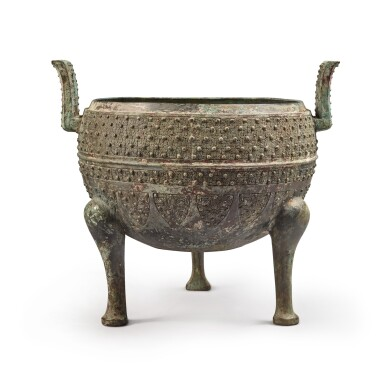 View 3. Thumbnail of Lot 19. An archaic bronze food vessel (Ding), Eastern Zhou dynasty | 東周 青銅交龍紋鼎.