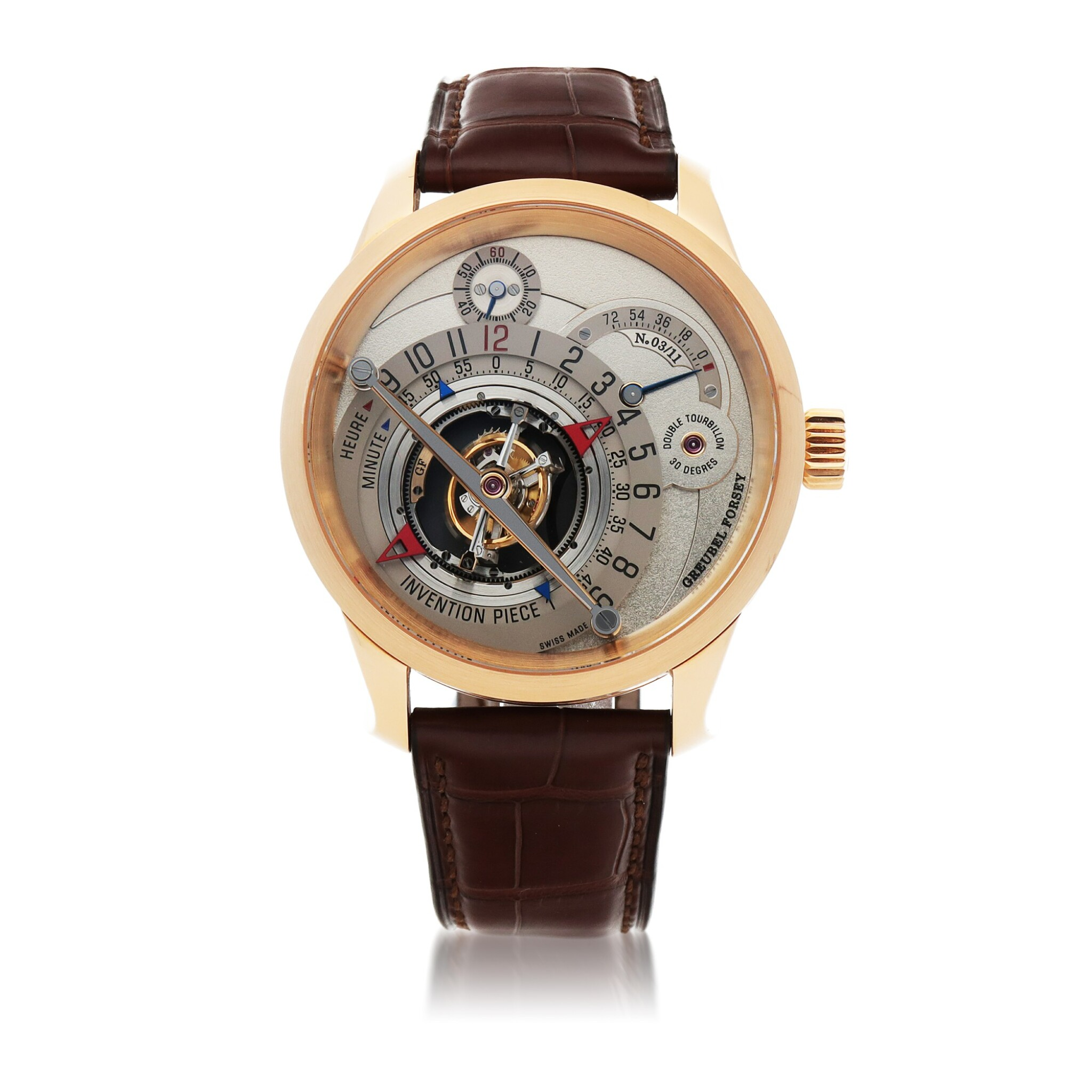 View full screen - View 1 of Lot 27. INVENTION PIECE 1 REF GF02N LIMITED EDITION PINK GOLD DOUBLE TOURBILLON WRISTWATCH WITH POWER RESERVE INDICATION CIRCA 2008 [ Greubel Forsey GF02N型號「INVENTION PIECE 1」限量版粉紅金雙體陀飛輪腕錶備動力儲存顯示,年份約2008].