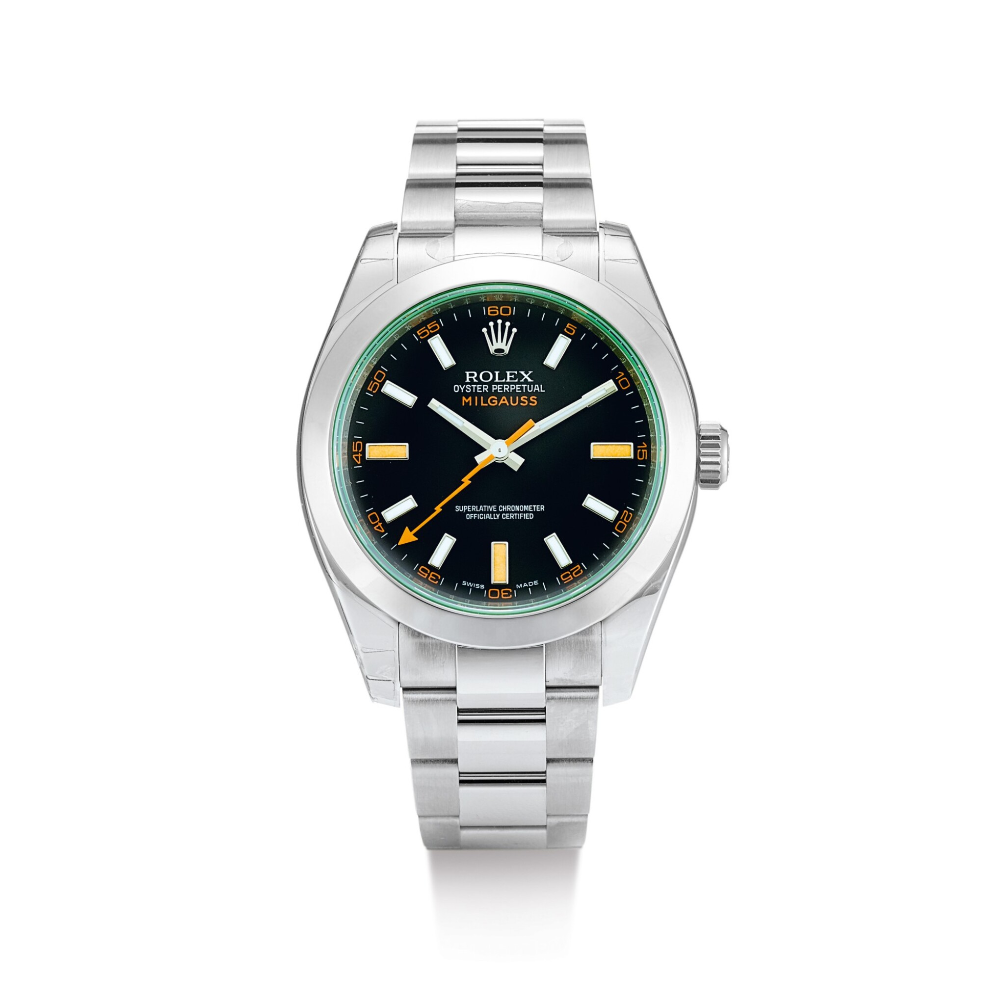 ROLEX | MILGAUSS, REFERENCE 116400GV A BRAND NEW STAINLESS STEEL WRISTWATCH WITH BRACELET, CIRCA 2008